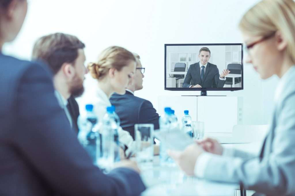 Video conference at company